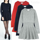 AnnaKastle Womens Wool-Blended Fit and Flare Ribbed Knit Sweater Dress Size S