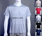Men's 100% Mulberry Silk Knitted T-Shirt Casual Short Sleeave Crew Neck Shirts