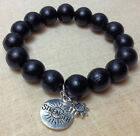 STRENGTH Genuine Pewter Charm Black Wood Bead Stretch Bracelet 8 or 12mm beads