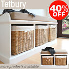 Tetbury Hallway Bench with cushion, White Bench with storage baskets, ASSEMBLED