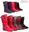 Lucky Top Girl's Kid's Cute Zipper Mid Calf Slouchy Flat Boot Shoes Size 9 - 4