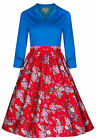 NEW LINDY BOP VINTAGE 1950's STYLE FLORAL PRINT FLARED PICNIC TEA PARTY DRESS