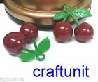 Plastic huge cherry charm 37x38mm c485 Red with green U PICK