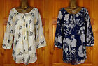 NEW EVANS CREAM BLUE BLACK WHITE BUTTERFLY FLORAL SUMMER BLOUSE TUNIC & CAMI TOP
