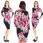 New Womens Ladies Floral print Long Sleeve Party Midi Dress Size 8 10 12 14 S M
