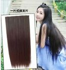 5Colors New Women's One Piece Long Straight Five Clips Hair Extension Clip-On