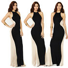 New Stunning Women Sleeveless Sexy Long Splicing Beach Cocktail Party Slim Dress