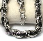 Mens Boys Heavy Silver Black 10mm Stainless Steel Rope Necklace or Bracelet