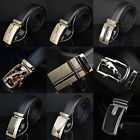 Hot New Mens Business Formal Automatic Buckle Leatherette Waist Strap Belt Black