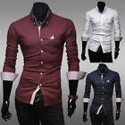 2014 PJ Men's Fitted Casual Business Formal Long Sleeve Shirts Tops 4 Size XS~L