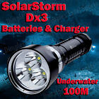 Pro 4000LM SolarStorm Dx3 3 Cree U2 LED Flashlight Diving Torch Dive Light
