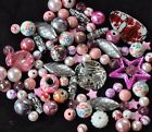 Pink Bead Mix for Jewellery Making with a little Silver Owl Charm 8mm 10mm 12mm