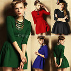 █ ██ Women Vintage Long Sleeve Pleated Retro Formal Evening Ball Gown Mini Dress