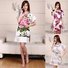 Woman Lady Chiffon Loose Pajamas Sleepwear Nightwear Flower Print Dress
