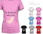 IT ALL STARTED WITH A KISS DESIGNER MATERNITY PREGNANT T SHIRT TSHIRT CUTE
