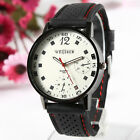 Fashion Men's Rubber Band Big Round Dial Sport Quartz Scale Wrist Watches Gift