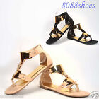Women's Summer Roman Gladiator Open Toe Sandle Flat Ankle Strap Shoes All Size