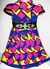 GIRLS PURPLE PINK YELLOW GEO PRINT DIAMONTE TRIM WINTER KNIT PARTY DRESS