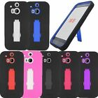 For HTC ONE M8 Cover Kickstand Doouble Layer Hard Rubber Protector Case