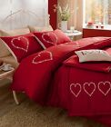 Catherine Lansfield 'Decorative Hearts' Red Bed Cover Duvet Set - Pick Your Size