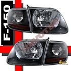 97-03 Ford F-150 F150 SVT Harley Davidson Headlights Corner Lights Black