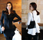 Fashion Womens Lady Slim Fit Suits Blazers Button Swallow Tail Jacket Coats New