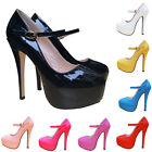 Patent PARTY HIGH HEELS PLATFORMS STILETTOS PUMPS COURT SHOES SIZE4-11 T817-1