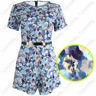 NEW WOMEN FLORAL PRINT PLAYSUIT LADIES GOLD BELTED SCUBA CELEB LOOK SHORTS DRESS
