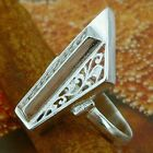 STERLING SILVER FLORAL GRAND RING SOLID.925 /NEW JEWELERY  SIZE J - U