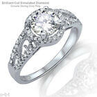 Brilliant Cut Clear CZ Filigree Style Genuine Sterling Silver Ring Size 3 - 12
