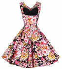 NEW LINDY BOP 'OPHELIA' VINTAGE 1950's FLORAL SPRING GARDEN PARTY PICNIC DRESS