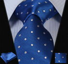"TD115B8S Blue Silver Polka Dot 3.4"" Silk Man Tie Neckties Hanky Handkerchief Set"