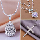B52U Glittery Pure Silver Plated Crystal Rhinestone Cross Necklace Pendant Chain