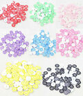 New 100pcs Resin Snowflake Flatback Round Buttons 13mm Scrapbooking Sewing Craft