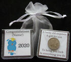 PERSONALISED LUCKY SIXPENCE GRADUATION KEEPSAKE GIFT OWL GOOD LUCK 5 DESIGNS