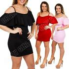 New Womens Ladies Celeb Frill Ruffle Bodycon Off Shoulder Mini Dress Size 8 10 S