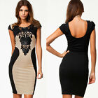 Fashion Sexy Women Lace Short Sleeve Slim Bodycon Party Cocktail Evening Dresses