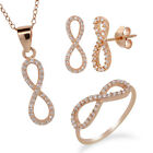 Rose Gold Plated Sterling Silver Infinity Ring Earrings Pendant Set With Chain