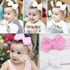 New Baby Girl Toddler Infant Children Cute Rose Bow Lace Pearl Headband Hairband