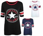 New Ladies Womens Converse Star Print Short Sleeve Baseball T-Shirt Tops 8-14
