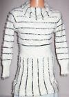 GIRLS BLACK STRIPE CREAMY WHITE COWL NECK FLUFFY KNIT TUNIC DRESS