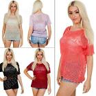 New Ladies Womens Short Sleeve Crochet Knit Knitted Jumper Top Size S M L 8 14
