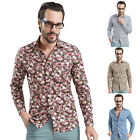 2014 New Men Cotton Stylish Floral Slim Fit Outwear Casual Shirts Tee Tops