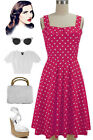50sStyle PLUS SIZE Dark PINK w/Big POLKA DOTS Fold Over Bust PEGGY SUE Sun Dress