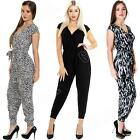 Womens Plain Aztec Tie Dye Animal Leopard Print All In One Jumpsuit Size 8 12 14