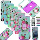 Flowers Rugged Hybrid Impact 3in1 Combo Hard Case Cover For iPod Touch 5 5th Gen