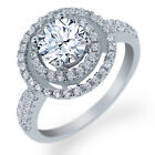 1.96 Ct Round Natural White Topaz 925 Sterling Silver Ring