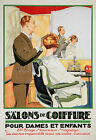 Vintage French hair salon ad print poster, large 4 sizes available