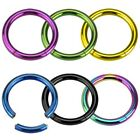 """Titanium Anodized Surgical Steel """"Seemless"""" Segment Ring Hoop Body Piercing"""