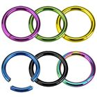 """Titanium Anodized Surgical Steel """"Seemless"""" Segment Ring Hoop Body Piercing image"""
